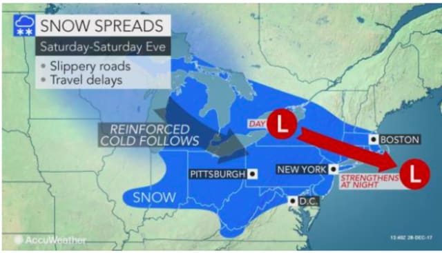 Snow is expected to arrive early Saturday afternoon, resulting in slippery roads.
