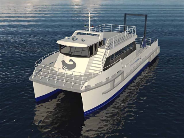 Rendering of the hybrid catamaran commissioned by the Maritime Aquarium at Norwalk, and built by Robert E. Derecktor Inc. of Mamaroneck, N.Y.