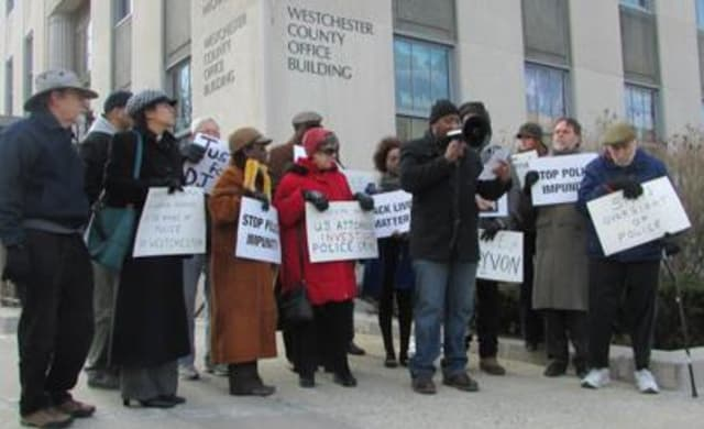 A rally in White Plains on Thursday called for greater police accountability.