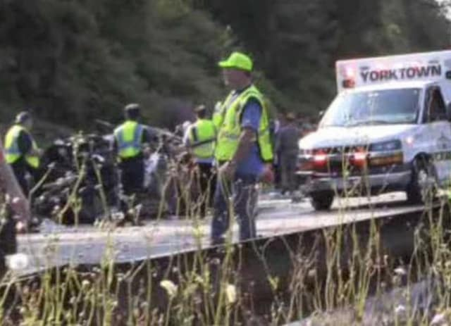 The scene of the accident on the Taconic State Parkway on Saturday.