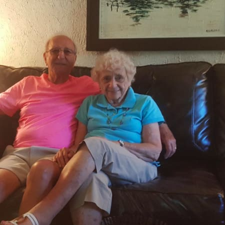 Rosemarie and Manny Blosio in their Stamford home. The couple is celebrating their 60th anniversary this week.