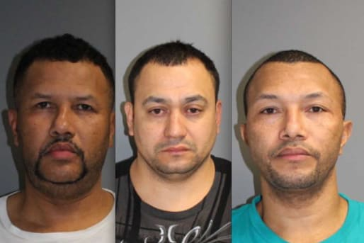 Tomas Morel, left, Carlos Guillen, center, and Vincente Morel, right, were arrested by Norwalk police on larceny charges Thursday in connection with the theft of $83,800 worth of handbags from Dooney & Bourke in Norwalk.